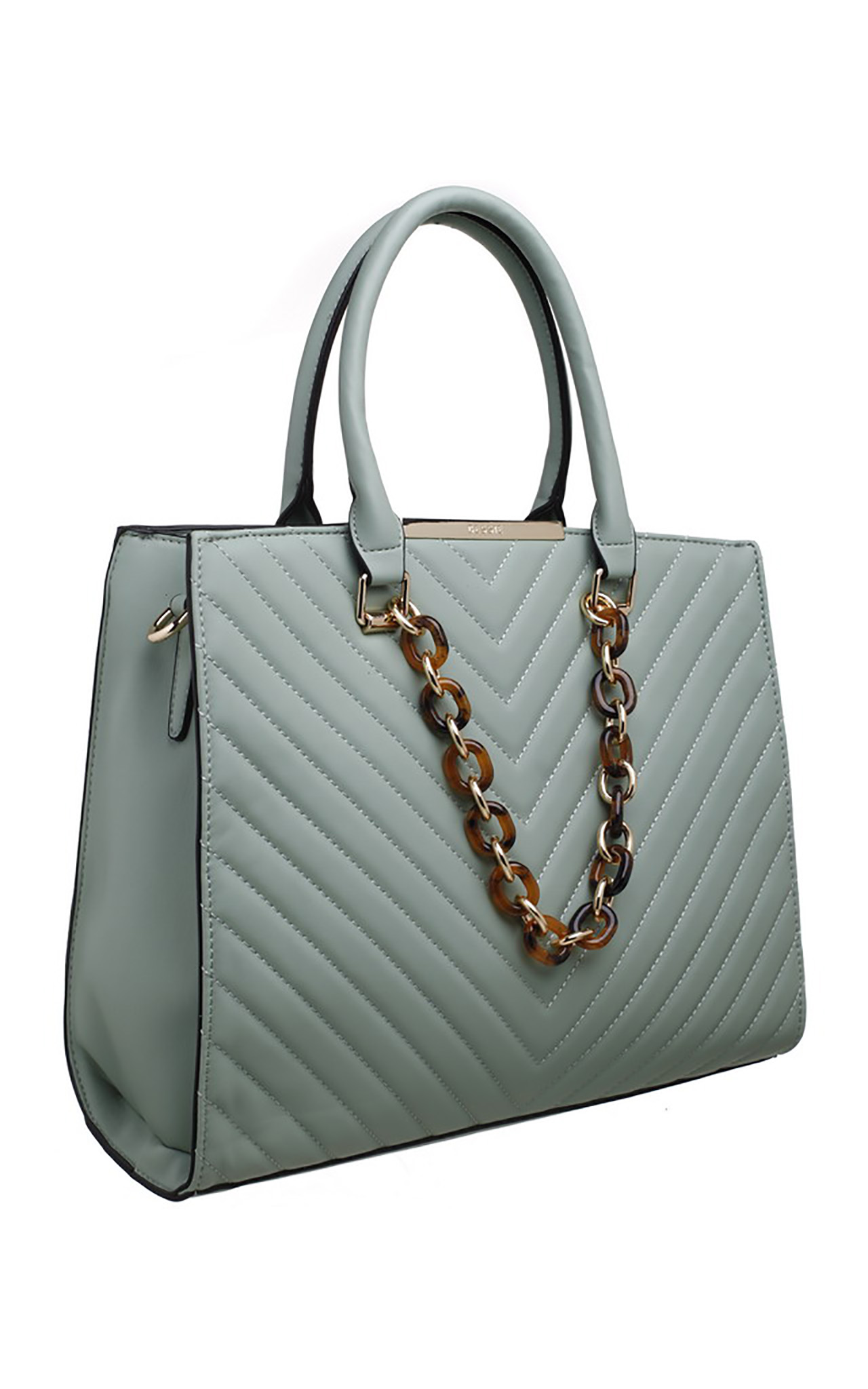 ACRYLIC CHAIN QUILTED TOTE BAG